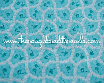 Sweet Turquoise Floral- Vintage Fabric 70s 80s New Old Stock Roses
