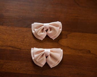 Vintage Shoe Clips - Deadstock Pink Satin Ribbon Bows 80s