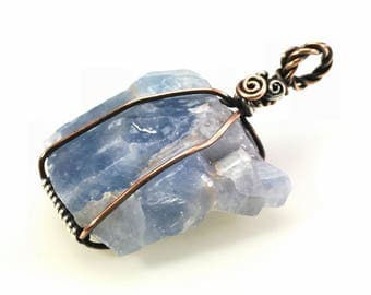 Blue Calcite Pendant: Raw Gemstone Healing Crystal Specimen Wire-Wrapped with Hypoallergenic Nickel Free Copper & Sterling Silver