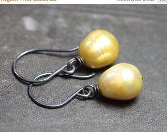 SALE Pearl Earrings Yellow Green Earrings Real Freshwater Pearl Jewelry Rustic Jewelry