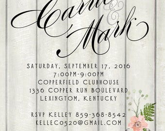 special order digital, Distressed fixer upper couple wedding shower invitation tool party