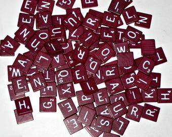 99 Vintage (1982) Burgundy Wooden Scrabble Letter Tiles for Altered Art, Collage, Scrapbooking, etc.