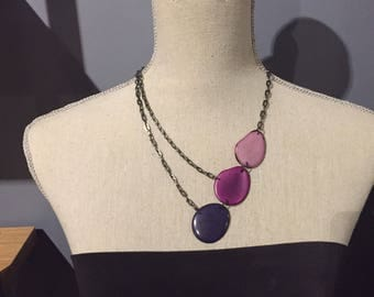 Shades of purple asymmetrical necklace