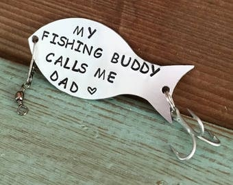 Fishing Lure Personalized, Gift For Dad, Gift For Fisherman, Fishing Gifts, My Fishing Buddy Calls Me Dad, Personalized Fishing Lure