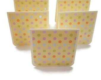 """Mini Note Cards Set of 12, Blank Mini Cards, Dotted Light Yellow 3"""" x 3"""" Square Cards, Card Set"""
