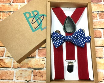Boys Bow Tie and Suspender Set - Youth Toddler Kids - Deep Red Blue Polka Dot - Easter Sunday, Church, Holiday