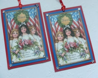 Fourth of July tags, Independence day, vintage style, patriotic, Americana, little girls American flag, red white and blue - set of 4