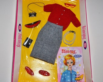 Vintage 1960's Ideal Tammy Doll Sweater Girl Outfit Like New w Package Some Never Removed Glasses Pearl Necklace Barbie