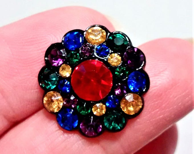 Featured listing image: B-117 Gorgeous Czech Faceted Glass Button with Multi Colored Rhinestones and a Large Red Rhinestone in the Center