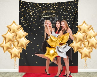 Red Carpet Backdrop, Black and Gold Sweet 16 Step and Repeat Backdrop, Party backdrop, Red Carpet Sweet 16 Banner / H-T19-TP LIN1 AA3