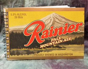 Spiral Notepad from Recycled Rainier Pale Mountain Ale 6-Pack Beer Carton