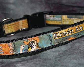 Adjustable Dog Collar from Recycled Death Rides a Pale Horse Blonde Ale Beer Labels De Los Muertos