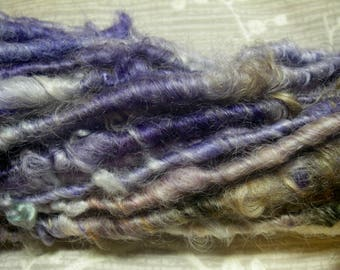 Handspun Corespun Curly Textured Lincoln Longwool Bulky Art Yarn in Violet and Gold by KnoxFarmFiber for Knit Felt Weave Embellishment