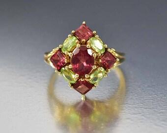Vintage Garnet Peridot Ring | 10K Gold Garnet Ring | Statement Ring | Garnet Cocktail Ring | August Birthstone Ring | Green Estate Ring
