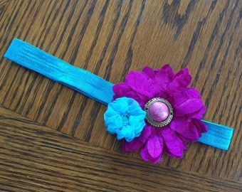 Purple and Teal Flower Baby Headband