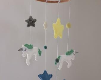Unicorn & Stars Sparkle Felt Baby Crib/Nursery Mobile