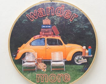 Embroidered Wander More on VW Beetle Photo Fabric Hoop