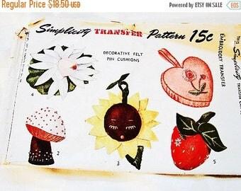 SALE 25% Off 1940s Felt Pin Cushion Pattern UNCUT Strawberry, Mushroom, Heart, Sunflower, Water Lily Vintage Sewing Pattern 40s