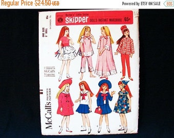 """on SALE 25% Off 1960s Skipper Doll Clothes Pattern 9"""" Doll Pattern Barbies sister Skipper Doll Clothes Vintage Sewing Pattern"""