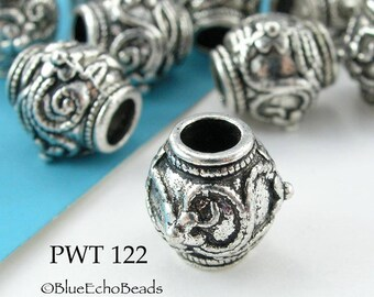 11mm Large Hole Pewter Barrel Bead, Antique Silver (PWT 122) 6 pcs BlueEchoBeads