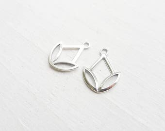 Sterling Silver Marquise Tulip Charm Ear Jackets for Stud Earrings (CR926017)