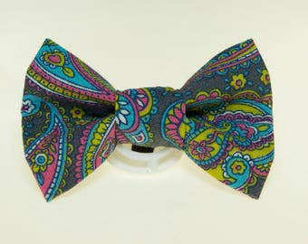Dapper Cat Pastel Paisley on Gray Cat Bow Tie