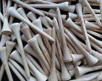 100 Custom Personalized Laser Engraved Golf Tees - Set of 100