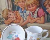A Little Cream With Your Tea  Vintage Nursery Rhyme Toy China Milk Jug  Sugar Bowl  1920s