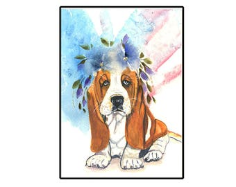 Cute Basset Hound Puppy Handmade Card with watercolor flowers