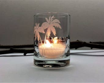 72 Beach Palm Tree Personalized Wedding Favor Candle Holders Nautical Favors Engraved Glass Votive Holders Custom Wedding Keepsake