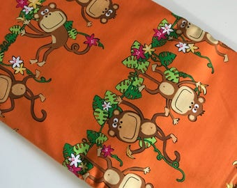 Orange Stripe Monkeying Around - Benartex Kanvas cotton woven fabric by the yard