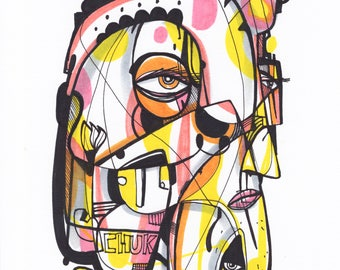 "Chuka - Original mixed media Illustration on Paper - 8"" x 10"""