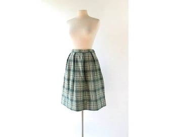 20% off sale Vintage 1950s Skirt | Sage Green Plaid Skirt | 50s Skirt | 25W XS