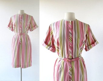 20% off sale Vintage 1960s Dress | Turkish Delight | Striped Dress | 60s Dress | L XL