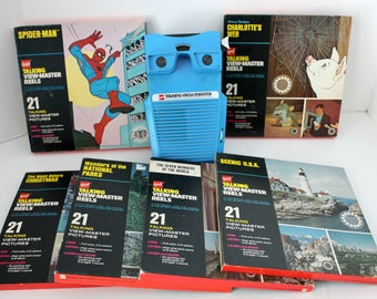Vintage Talking View Master w/ 6 Reels, Working Order, Spider Man, Charlotte's Web, Christmas