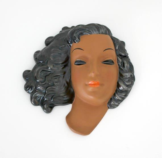 Goldscheider Wall Mask by Adolf Prischl, Vintage Mid Century Terracotta 7750 Woman Face