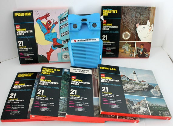 Vintage Talking View Master with 6 Reels, Works, Spider Man, Charlotte's Web, Christmas