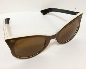 Cateye Sunglasses - Vintage Brown bronze Cream Retro Accessory 1950s American Optical signed Cosmetan C22-46