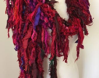 Deep reds Recycled silk hand knitted boho tattered rag scarf