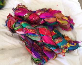400 grams 4 skeins recycled silk   ribbon  knitting crochet craft embellishment yarn multicolor rainbow mix