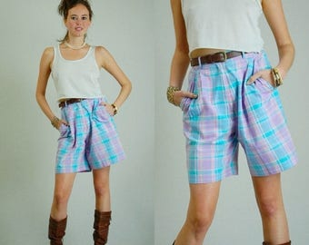 SALE 25% off sundays Plaid Culottes Vintage 80s Pastel Plaid High Waist Preppy Shorts (s)