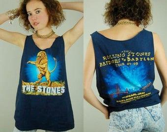 SALE 25% off sundays Rolling Stones T Shirt Vintage 1997 Blue ROLLING Stones Bridges to Babylon Rock Tour Distressed Jersey T Shirt (m l)