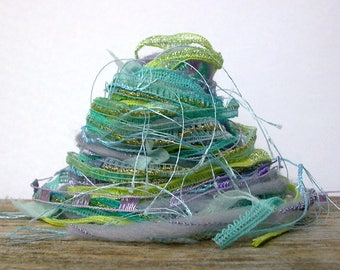 solar power fiber effects™  art yarn bundle mixed media ribbon textile fiber pack 12yd . aqua sky blue lavender neon yellow