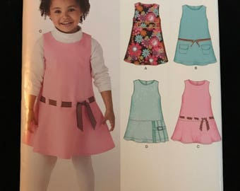 Simplicity New Look Pattern 6845 Child's Dress Or Jumper Size A 3-8