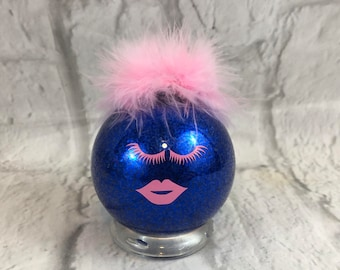 Fabulous Pink Eyelashes And Lips Blue Shimmering Glass Ornament Pink Feathers