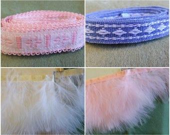 TR041 ~ 4 misc trims Pink trim Blue trim Cotton tape edging Marabou trim Pink feathers White feathers Satin ribbon