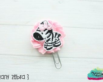 Planner Clip { Zany Zebra } pink zebra, zoo, animal Paper Clips, Stationary, Planner Supplies, kikkik, happy planner
