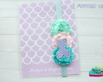 Planner band { Mermaid Tails } glitter, holographic, mermaid scales aqua watercolor elastic notebook band, happy planner, erin condren