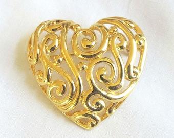 Vintage Gold Tone Scroll Heart Brooch