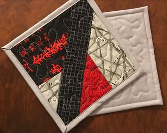 """Two Red, Gray and Black mug rugs. Quilted mug rugs, Asian prints coasters, 7"""" x 7"""""""
